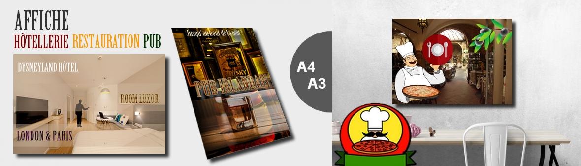 Affiche hôtel et restaurant - Création sur mesure.